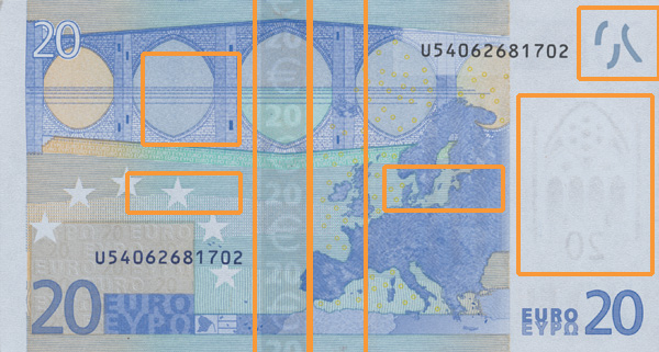 20 euro banknote, first series - reverse side