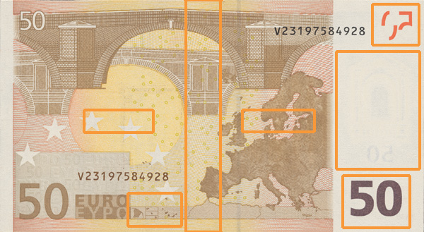 50 euro banknote, first series - reverse side