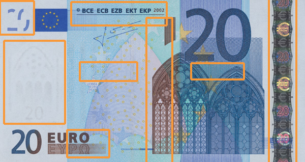 20 euro banknote, first series - front side