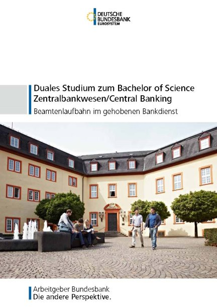 "Cover zur Broschüre ""Duales Studium zum Bachelor of Science Zentralbankwesen/Central Bankingt"""