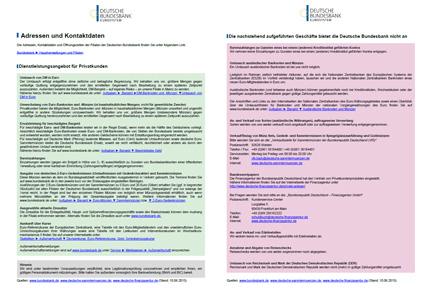 Dienstleistungsangebot Der Filialen Der Bundesbank Für Privatkunden
