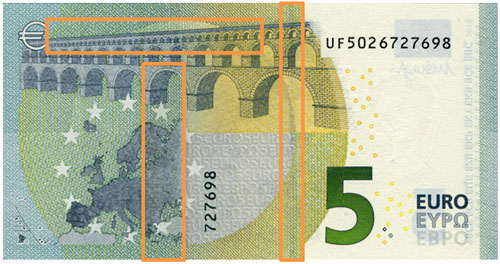Back side 5 euro banknote