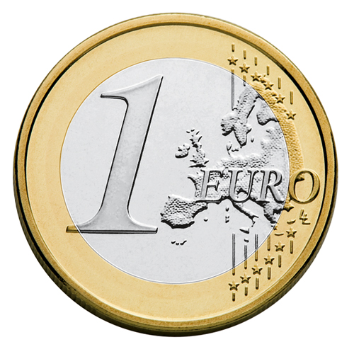 European side of the 1 euro coin from 2007