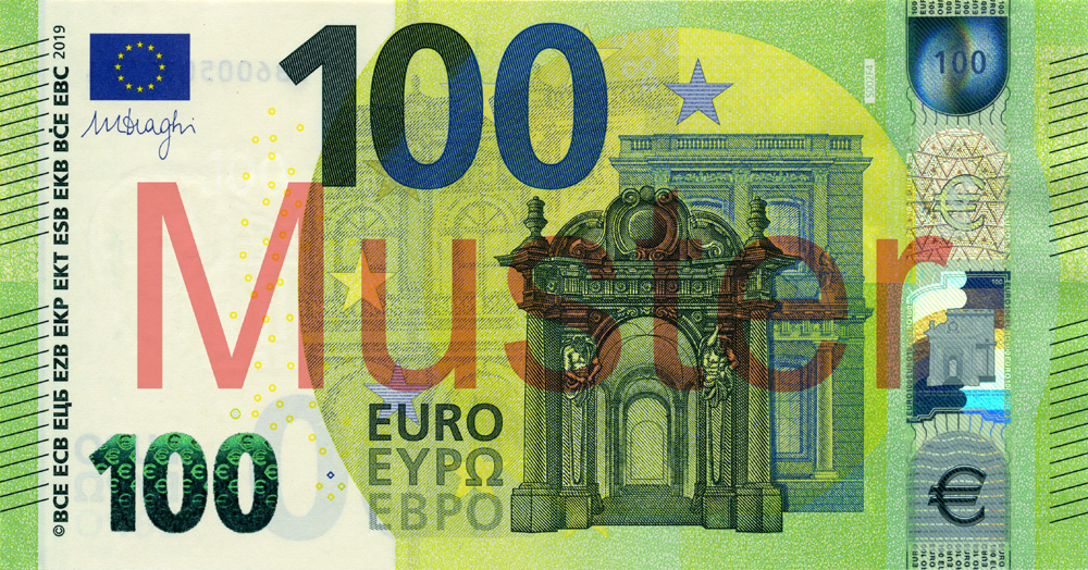 €100 banknote, Europa series - front side