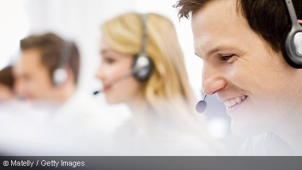 Three persons in a call center