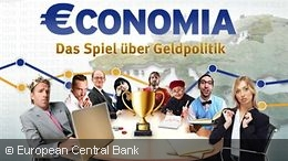 Start screen of the online game €conomia of the European Central Bank